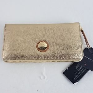 Tommy Hilfiger Leather Wallet Metallic Gold Pebble